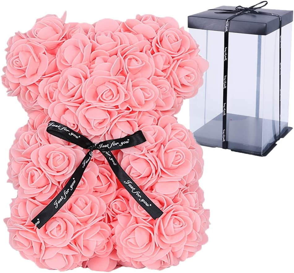 GIHOO 10inch Forever Rose Flower Bear with Beautiful Transparent Box Bear PE Foam Artificial Simulated Flower for Anniversary Valentine's Day Mother's Day,Thanksgiving Gift (Pink)