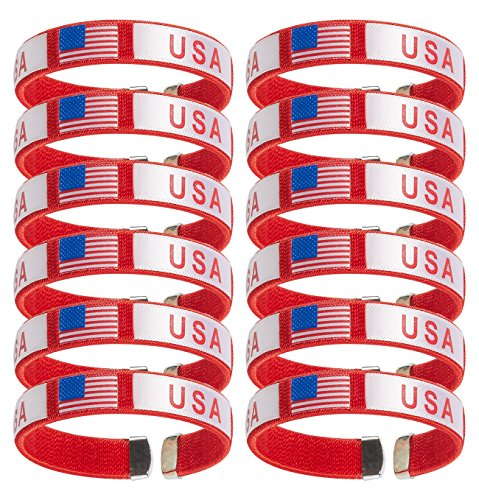 Juvale 12-Pack American Flag Wristband - USA American Flag Ribbon Bangle Bracelets, for 4th of July, Patriotic Party Favors, Red, 2.5 x 0.5 Inches ()