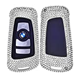 DAYJOY Luxury Premium Aerospace Aluminum Car Key Shell Cover with diamond-mounted With Key Chain For BMW keyless remote control Smart Key 1/2/3/4/5/6/M/X SERIES X3 X4 M2 M3 M4 M5 M6 (SILVER)