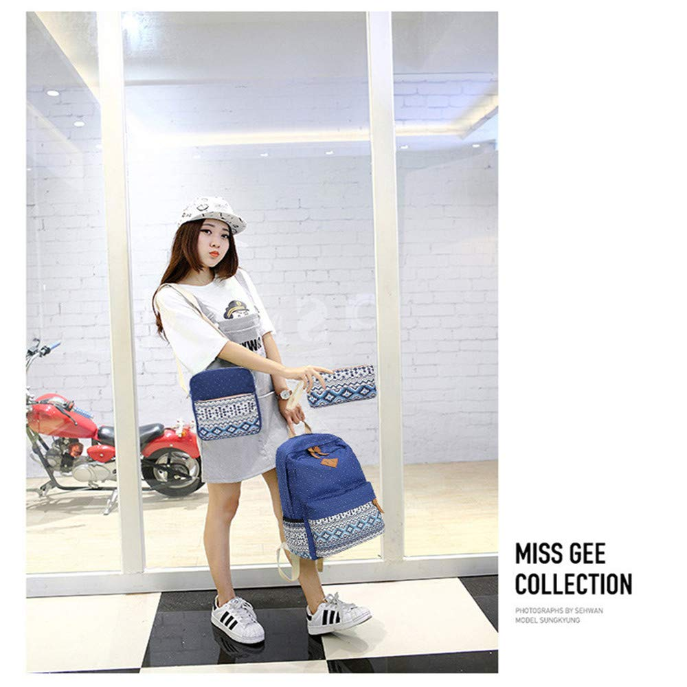 Casual Bookbag Set, YiMiky Canvas Laptop Backpack Teens Bookbag Set for School Shoulder Bag Pencil Pouch Purse Students Pen Case Shoulder Bag Casual Daypack - Blue