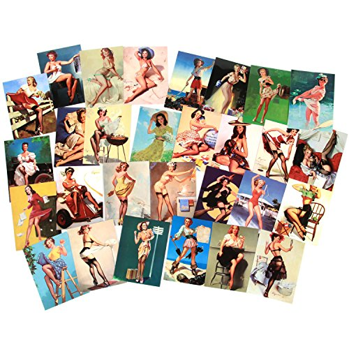 Sexy Women Pin Up Pinup Girls Stickers Decals Vinyl Art Work Vintage Retro Stickers For Bumper Guitar Decals Phone Case Luggage Skateboard (100pcs Pin Up - Nude Vintage Retro