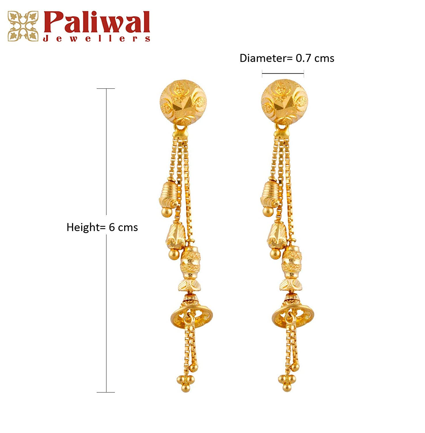 20744a741 Buy Paliwal Jewellers 22 KT Yellow Gold Sui Dhaga Earring For Women and  Girls Online at Low Prices in India   Amazon Jewellery Store - Amazon.in