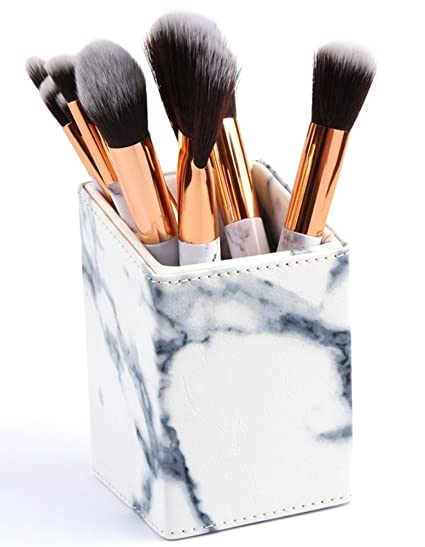 2c9ea344ba Image Unavailable. Image not available for. Color  J J Makeup Brush Holder  PU Leather Marble Pattern Desk Organizer Cosmetics ...