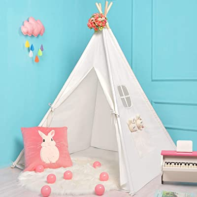 Sumerice Teepee Tent for Kids Toy with Carry Case, 100% Natural Cotton Canvas Children Playhouse, Gift for Girls and Boys to Play Indoor and Outdoor: Toys & Games