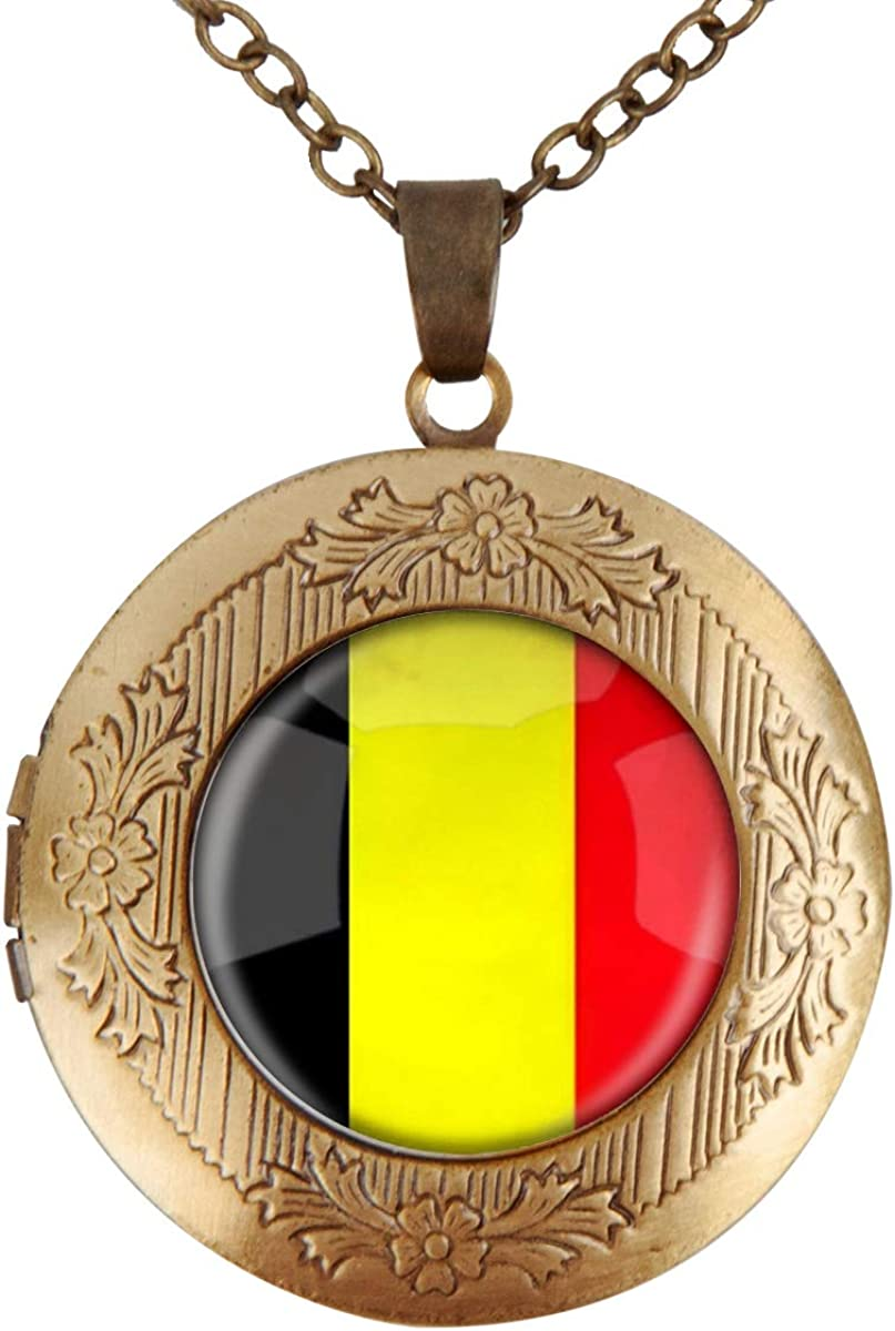 Women Girls Locket Necklace Holds Pictures The Kingdom of Belgium National Flag Necklace with Adjustable Chain Pendant Enhancers