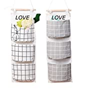 2 Packs Linen Cotton Fabric Wall Door Closet Hanging Storage Bag 3 Pockets Over the Door Organizer for Room Bathroom by HomRing