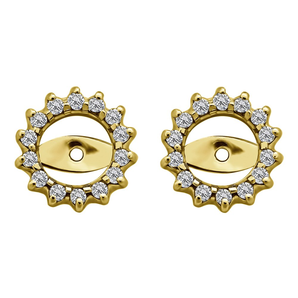 1/3 ct. Cubic Zirconia Round Cluster Earring Jackets in Yellow Plated Sterling Silver (0.28 ct. twt.)