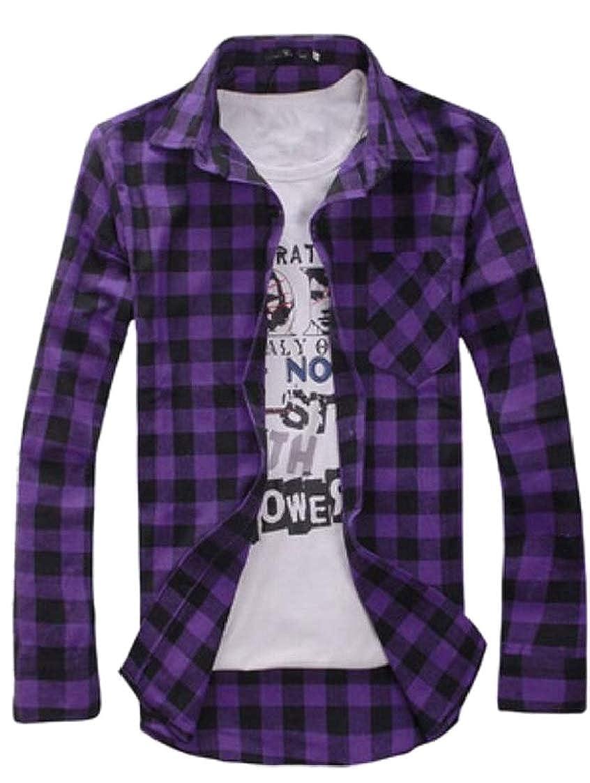 Men Long Sleeve Flannel Plaid Checkered Button Down Casual Dress Shirts