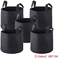 Elenxs 5Pcs/Set Breathable Nonwoven Fabric Pots Strap Handles Bags Nursery Garden Planting Grow Planter Bag Pouch (1 Gallon)