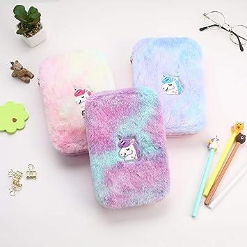 RALC increíble 1 pieza de peluche Kawaii unicornio estuche multifunción de gran capacidad suministros escolares papelería cosméticos bolsa organizador de almacenamiento: Amazon.es: Hogar