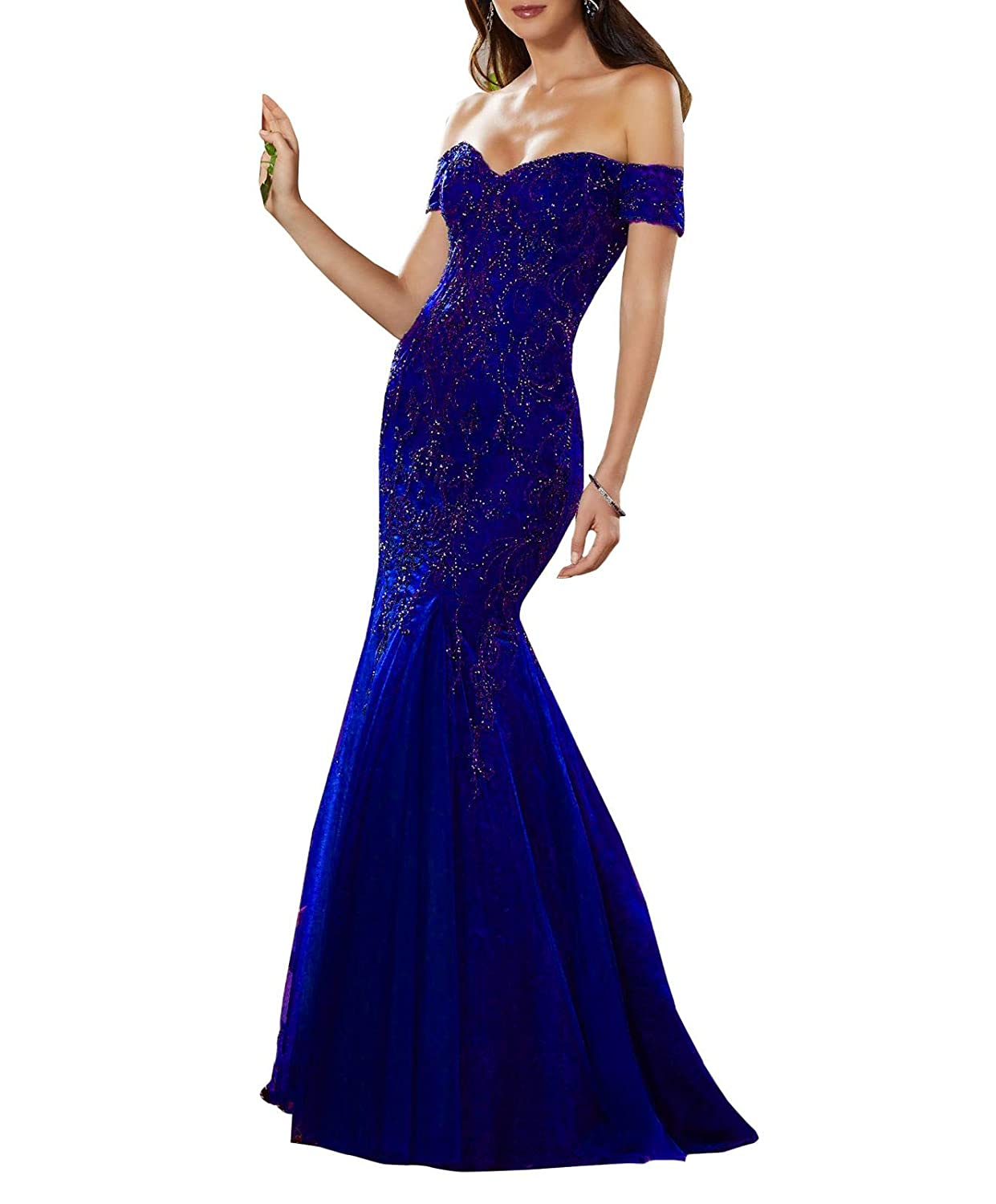 bluee Aishanglina Aline Sexy Off The Shoulder Lace Embroidered Party Dress Prom Gown with Jewelled Beading