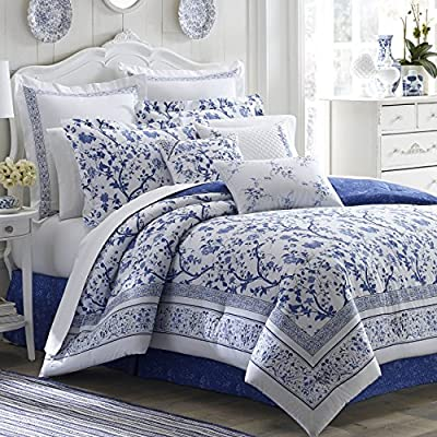 Laura Ashley Home | Charlotte Collection | Luxury Ultra Soft Comforter, All Season Premium 4 Piece Bedding Set, Stylish Delicate Design for Home Décor, King, China Blue - Set includes comforter + 2 shams & bed skirt Comforter is reversible Set is 100Percent cotton - comforter-sets, bedroom-sheets-comforters, bedroom - 61ve9OCsY6L. SS400  -