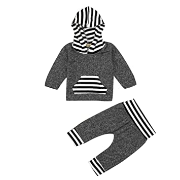 c770dea51 Internet Newborn Infant Baby Boy Girl Clothes Set Striped Hoodie ...