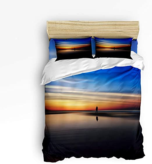 Amazon Com Queen Size Duvet Cover Set Bedding Sets For Kids Bedroom Beautiful Scenery In The Sunset Beach Adult Bed Sets 4 Piece Include 1 Flat Sheet 1 Duvet Cover And 2 Pillow Cases Home