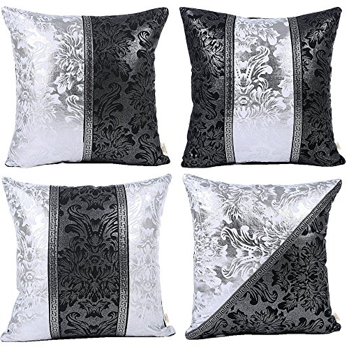 """HOSL P111 4-Pack Beautiful Fashionable Design Silver and Black Square Decorative Throw Pillow Case Cushion Cover Fit for 18""""x18"""" Pillow"""