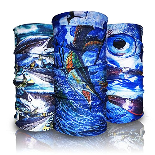 Eytan 9 Pcs Fishing Face Shield Multi Purpose Headwear Wrap Wear As Tube Bandana, Seamless Magic Headband, Sports Neck Gaiter,Uv resistance Fish Face Mask - Good Sun Protection