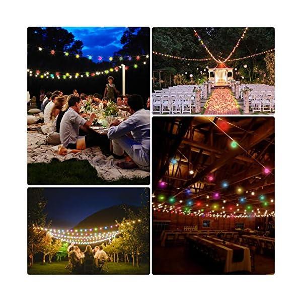 LE Catena Luminosa 13M 100 Lampadina LED RGB, Luci Stringa Impermeabile per Esterno ed Interno, 8 Modalità di Illuminazione e Funzione Timer, Ideale per Decorazione Casa, Natale, Feste, Giardino 5 spesavip