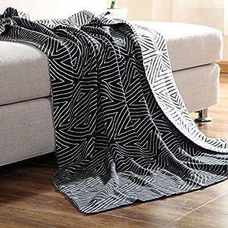 ZHULIAN Lana Geometrica a Tre Quarti di Lana Girocollo a Righe Casual Geometriche (Color : Nero, Taglia : 130 * 160cm)