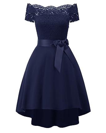 KAXIDY Mode Femmes Dentelle Robes de Fête Robe Soirée Asymétrique Robe de  Cocktail (Bleu Marine 674bf7a604c8