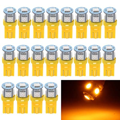 EverBright 20-Pack 194 Led Bulb Amber, T10 194 168 2825 W5W 5 SMD 5050 LED Bulb for Car Interior Lights Wedge License Plate Light Instrument Lamp Dome Reading Light Trunk Interior Lamp, DC-12V: Automotive