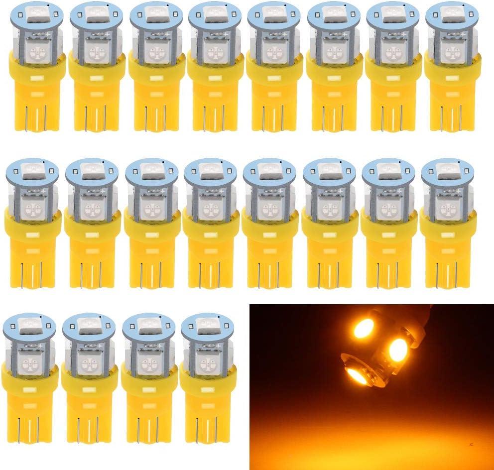 KaTur Super Bright 140LM Amber W5W 2825 175 168 558 LED 1206 8SMD Interior Dome Liscence Plate Signal Indicator Backup Light 12V Pack of 10
