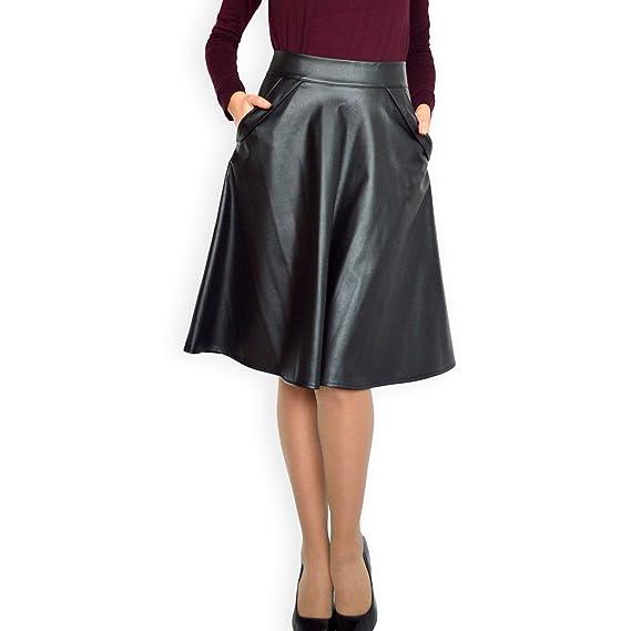 Les Femmes Faux Cuir Taille Haute évasée Patineuse Mini Jupe Plissée Noir  EU 36 38 40 60153d869fdf