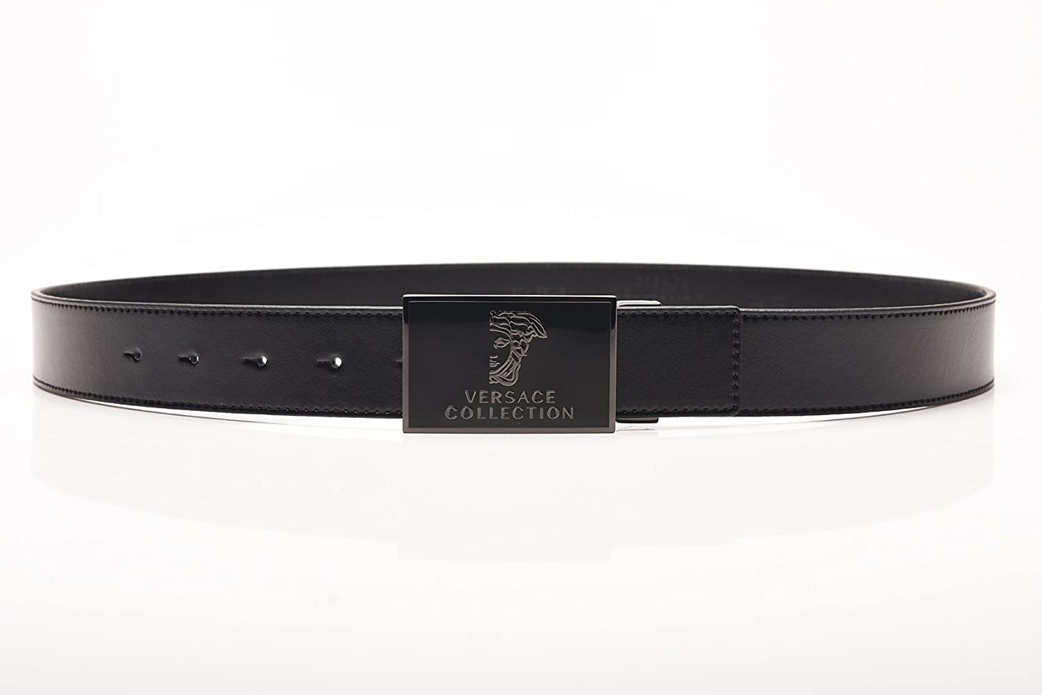 Versace Collection Mens Medusa Stainless Steel Buckle Leather Belt Black