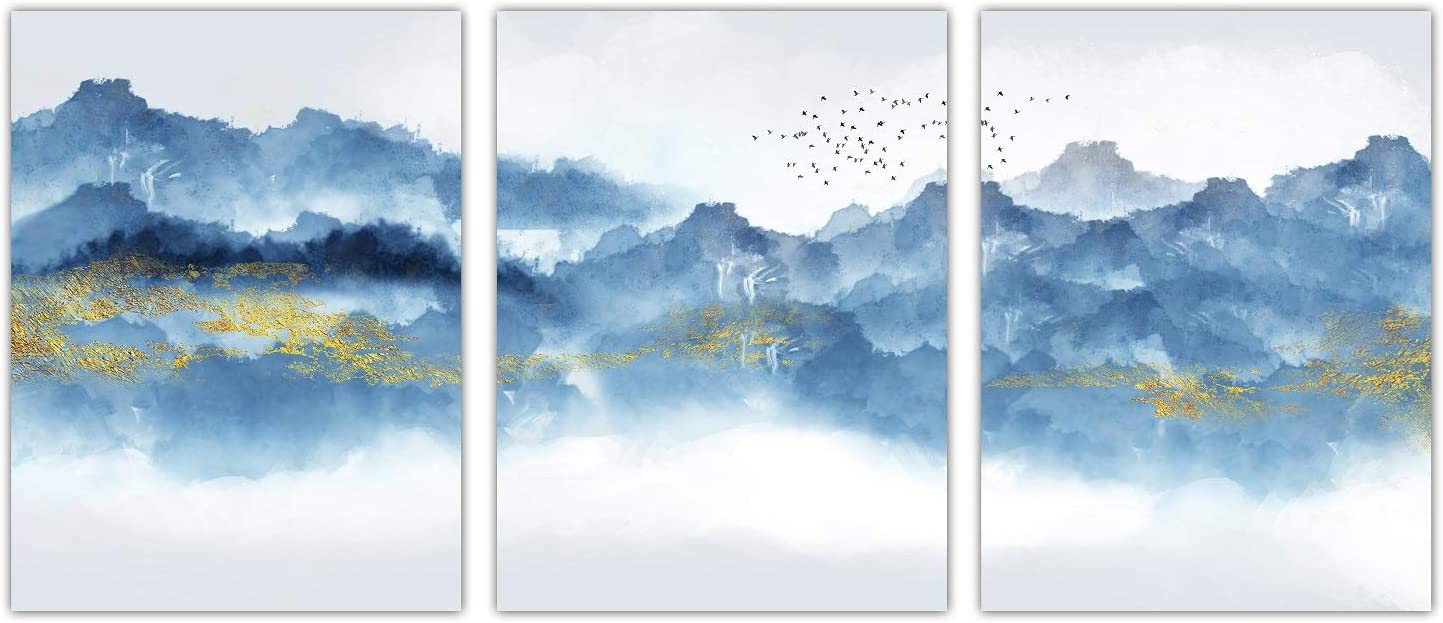 Amazon Com Navy Blue Abstract Mountains Canvas Wall Art For Living Room Modern Watercolor Print Poster Picture Artworks For Bedroom Bathroom Kitchen Wall Decor 3 Pieces Framed Ready To Hang 12x16 Inches Posters