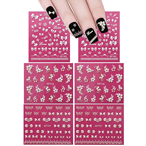 ALLYDREW Fingernail Stickers Nail Art Nail Stickers Self-Adhesive Nail Stickers 3D Nail Decals - Bows, Hearts & Flowers (3 designs/6 sheets)