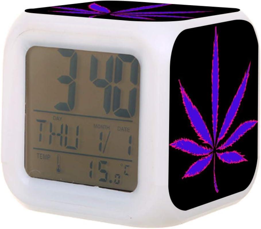 Kids Alarm Clock 7 Colors Changing Night Light Led Digital Alarm Clocks Neon Purple Cannabis Marijuana Leaf Weed On Black Student Desk Bedside Electric Modern Silent Clock with Thermometer