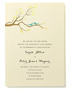 BRIDES Gold Foil Birds Print At Home Invitation Kit, Set Of 30 Pocket  Invitations With