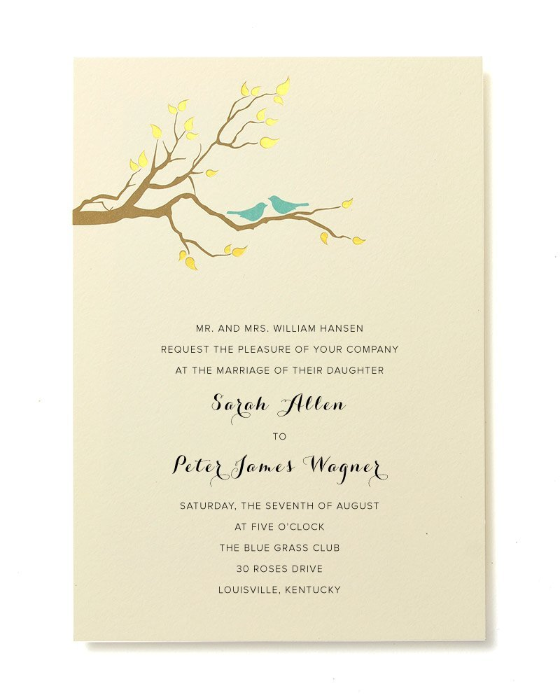 Amazon.com: BRIDES Gold Foil Birds Print At Home Invitation Kit, Set ...