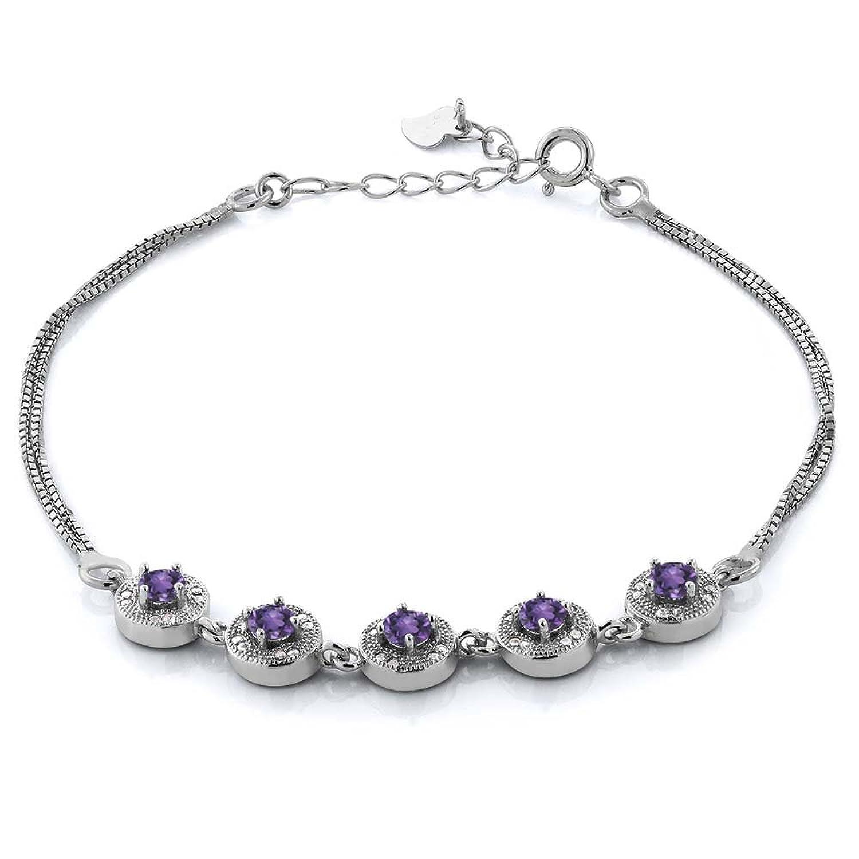 1.95 Ct Round Purple Amethyst 925 Sterling Silver Bracelet