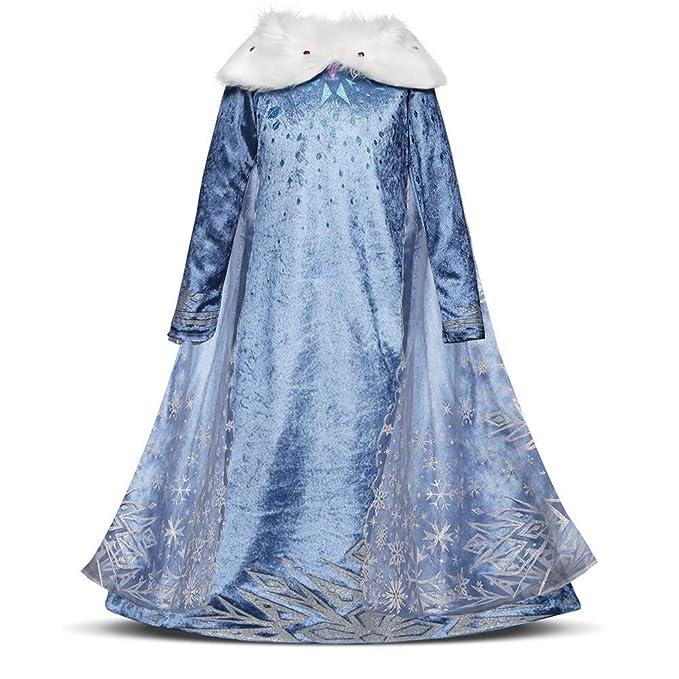 Disfraz Elsa Frozen Niñas con Capa Princesa Ana Vestido Traje Ice Queen Snowflake para Halloween Navidad Carnaval Themed Manga Larga Infantil Nieve ...