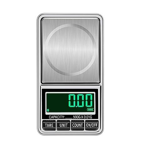 BESTONZON - Báscula electrónica de Alta precisión con minibásculas de Bolsillo Digital para medir el Peso