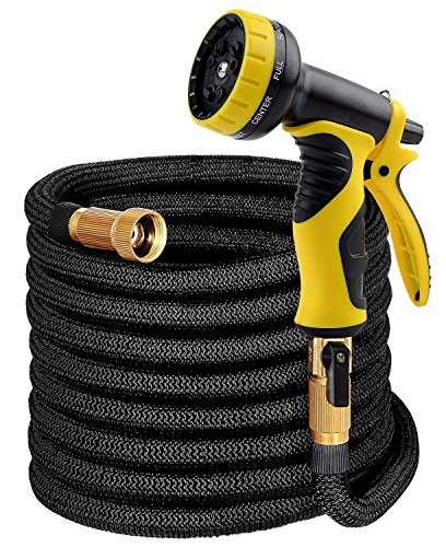 Garden Hose 50ft – Expandable Water Hose with Strongest Brass Connectors, Triple Layer Latex Core, Extra Flexible Fabric & 9 Function Spray Nozzle – Expanding Car Wash Hose Kit