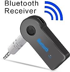 Bluetooth música audio estéreo adaptador receptor para coche 3.5 mm AUX altavoz para el hogar MP3 para coche música sistema de sonido manos libres llamar micrófono incorporado-negro