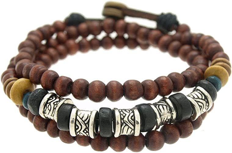 SWEETIE 8 Jewelry Womens Textured Barrels Wood Beads Wrapped Bracelet Adjustable 7.5 to 8 Inches LB0033