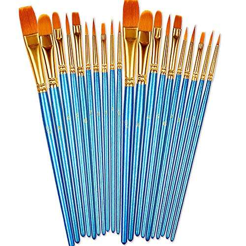 BOSOBO Paint Brushes Set, 2 Pack 20 Pcs Round Pointed Tip Paintbrushes Nylon Hair Artist Acrylic Paint Brushes for Acrylic Oil Watercolor, Face Nail Art,