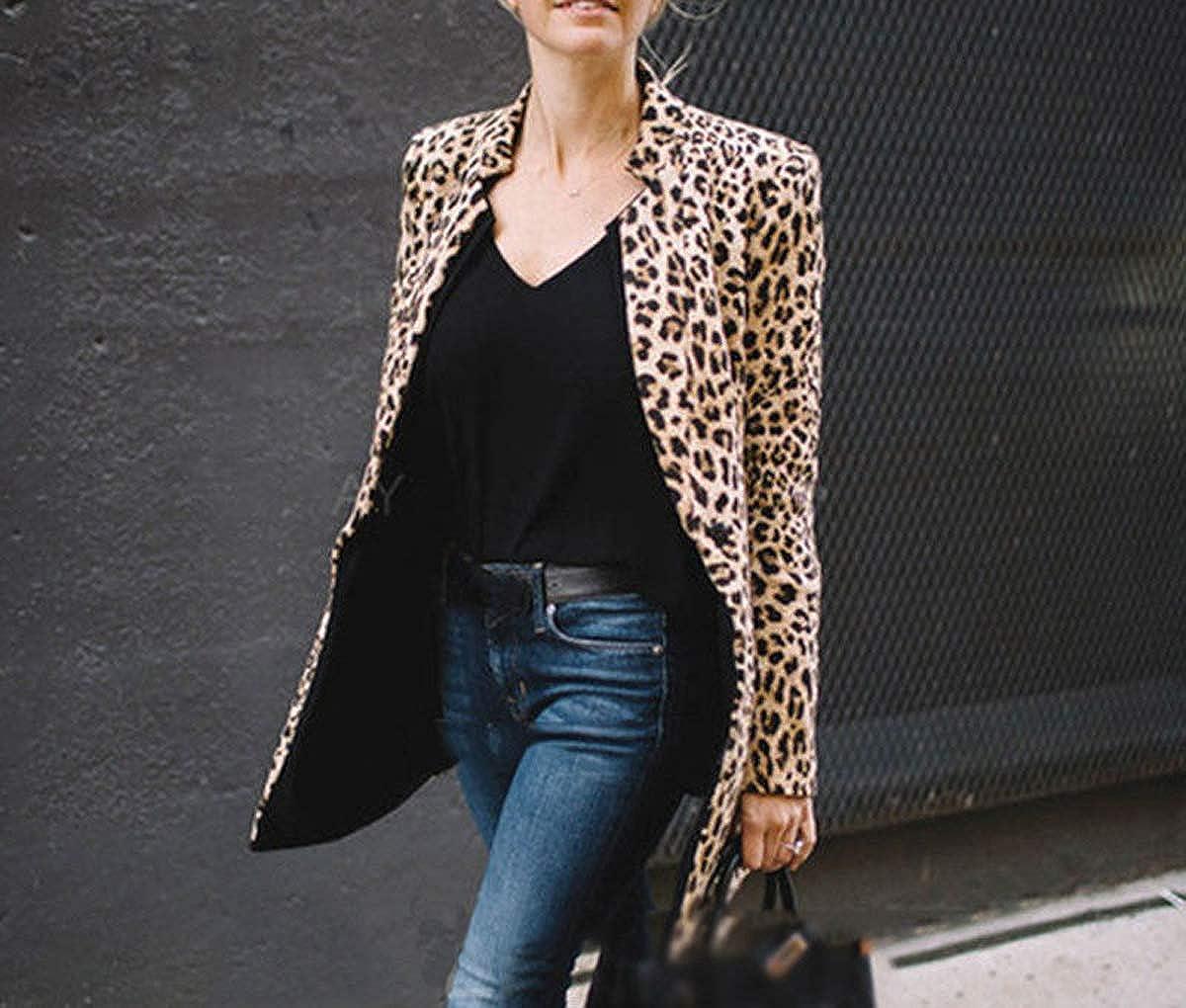 Womens Open Front Jacket Long Sleeve Leopard Print Blazer Cardigan Coat of Office Suit