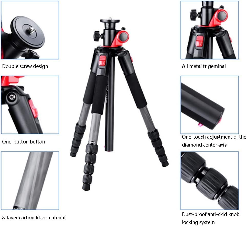 Portable Professional Travel Tripod with 360/° Panoramic Ball Head Maximum Load 10KG Mengen88 Tabletop Tripod Suitable for Digital SLR Cameras