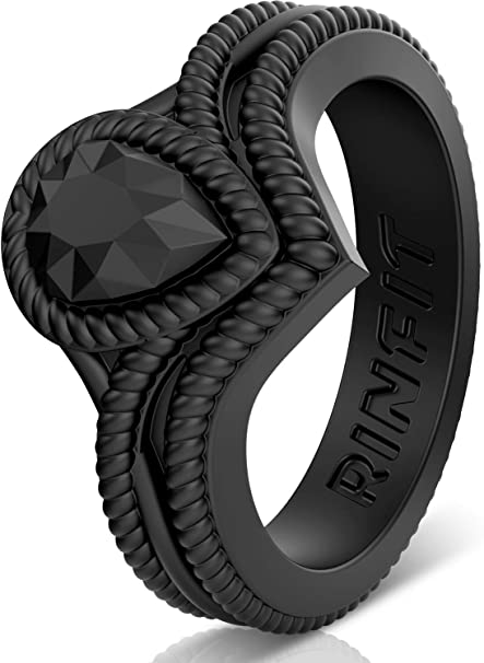 U.S Soft /& Stackable Silicone Wedding Band Design Patent Pending Rinfit Silicone Wedding Ring for Women Rings Size 4-10