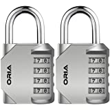 ORIA Combination Lock, 4 Digit Combination Padlock for School, Employee, Gym & Sports Locker, Toolbox, Hasp Cabinet & Storage - Silver and 2 Pack