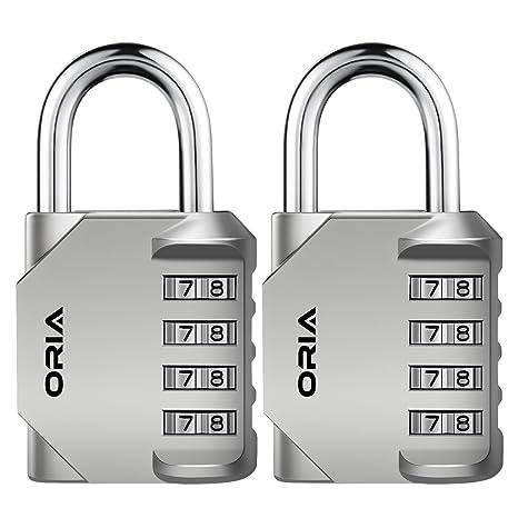 【Nueva Versión】Oria 2 Pcs Combinación de candados, Candados Combinación de Seguridad con