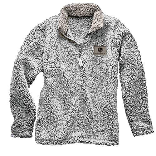 John Deere Unisex Sherpa Pullover 1/4 Zip Sweatshirt- Black Heather (2XL) (John Deere Mens Sweatshirt)
