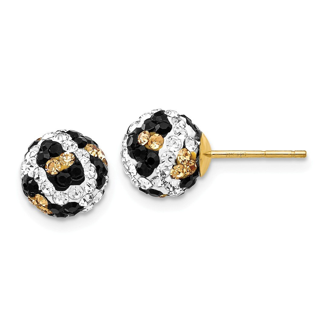 ICE CARATS 14kt Yellow Gold Crystal Leopard White Black 8mm Post Stud Ball Button Earrings Fine Jewelry Ideal Gifts For Women Gift Set From Heart