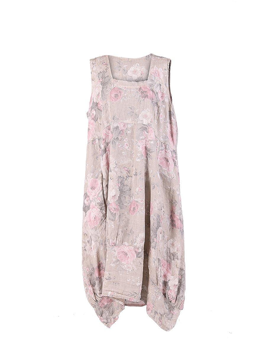 954962a756 LushStyleUK New Ladies Italian Floral Linen Sleeveless Dress Women  Lagenlook Dress Plus Size (Beige)  Amazon.co.uk  Clothing