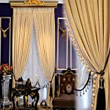 """SetLuxury Europe Style Italian Velvet Curtains For living Room Embroidered White Tulle Valance Solid Curtains (W54""""L84"""", milk)"""