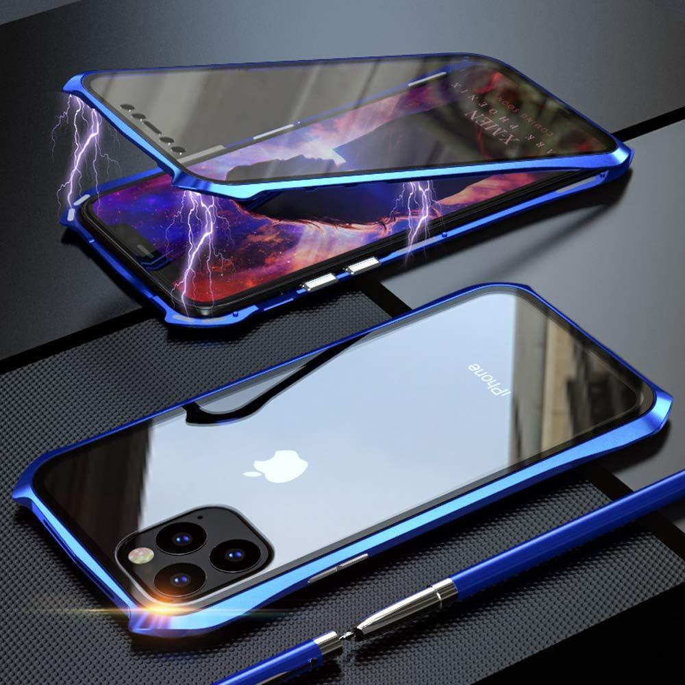 Coque pour iPhone 11 Adsorption Magnétique Housse,Conception de Style Batman Double côtés Transparent Verre Trempé Etui Métal Cadre 360 degrés ...