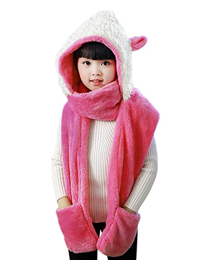 3ddc48eef0e Amazon.com  Kids Soft Plush Faux Fur Animal Hat Scarf Mitten Combo  Neckwarmer Hoods Gloves Scarf Gift for Girls Fuschia  Clothing